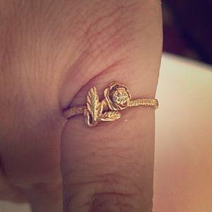 14k gold Rose w/diamond ring